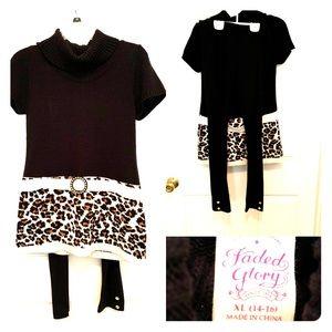 Black leggings with cheetah design top